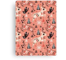 Holiday Folk in Pink Peppermint  Canvas Print