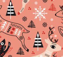Holiday Folk in Pink Peppermint  Sticker