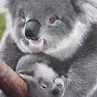 Koala & Baby Pastel Painting by gwyntay