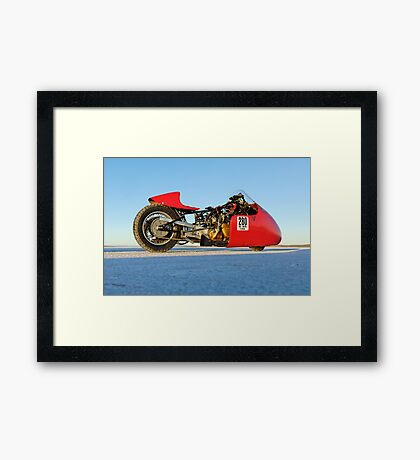 Vincent racing on the salt Framed Print