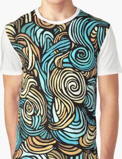 Blue, Yellow and Black Swirls Pattern Graphic T-Shirt