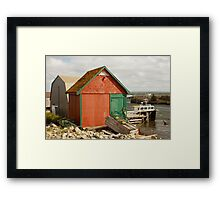 A Colorful Boat House in Nova Scotia Framed Print