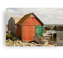 A Colorful Boat House in Nova Scotia Canvas Print