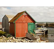 A Colorful Boat House in Nova Scotia Photographic Print