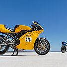 Ducati Supersport 900 and Ducati SS 900 on the salt by Frank Kletschkus