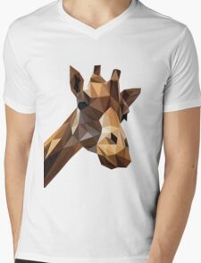 Curious Giraffe Mens V-Neck T-Shirt