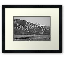 Colorado Rocky Mountains Flatirons with Snow Covered Twin Peaks Framed Print