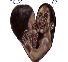 Black mother heart with brush lettering by Agy Wilson