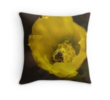 Bumbly in the Cactus Bloom! Throw Pillow