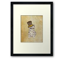 Funny Cute Kitten Cat Sketch Monocle and Top Hat Framed Print