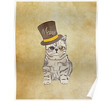 Funny Cute Kitten Cat Sketch Monocle and Top Hat Poster
