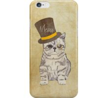 Funny Cute Kitten Cat Sketch Monocle and Top Hat iPhone Case/Skin