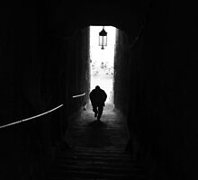 2013 Slowly but surely, an old man winds his way up Portovenere's steep steps by ragman
