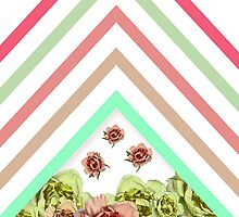 Modern Pink Teal Mint Green Chevron Floral Peonies by GirlyTrend