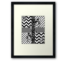 Trendy Black and White Floral Lace Stripes Chevron Framed Print