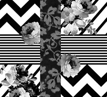 Trendy Black and White Floral Lace Stripes Chevron by GirlyTrend