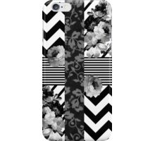 Trendy Black and White Floral Lace Stripes Chevron iPhone Case/Skin