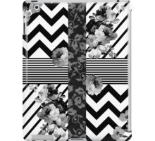 Trendy Black and White Floral Lace Stripes Chevron iPad Case/Skin