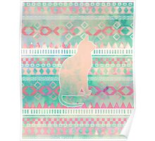 Whimsical Cat, Pink Turquoise Girly Aztec Pattern Poster