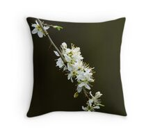 White Spring Blossom Throw Pillow