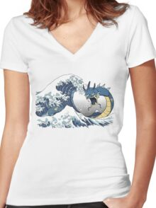The Great Wave off Mt. Moon Women's Fitted V-Neck T-Shirt
