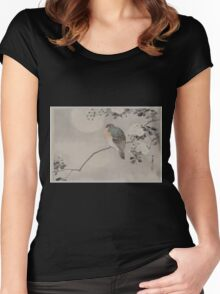 Bird perched on a branch of a blossoming tree 001 Women's Fitted Scoop T-Shirt