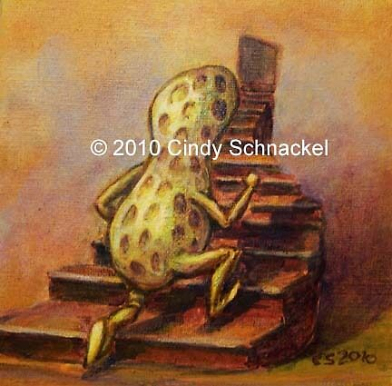 Peanut on Staircase by Cindy Schnackel