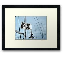 Windy day pirate flag Framed Print