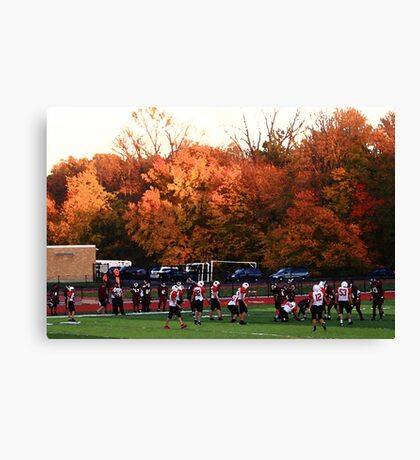 "Autumn Football with ""Dry Brush"" Effect Canvas Print"