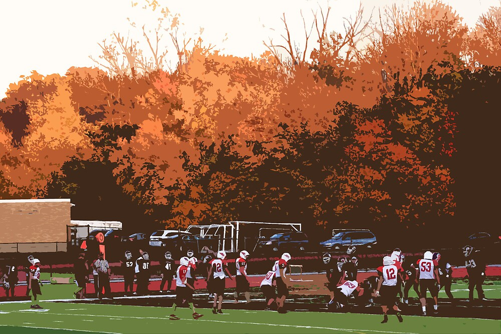 """Autumn Football with """"Cutout"""" Effect by Frank Romeo"""