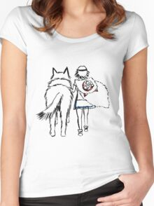 Princess Mononoke and Moro no Kimi Women's Fitted Scoop T-Shirt
