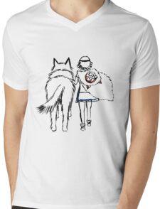 Princess Mononoke and Moro no Kimi Mens V-Neck T-Shirt