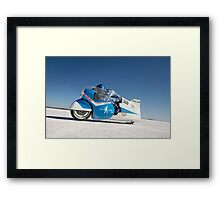 Brett de Stoop on his Suzuki GT 750 at speed Framed Print