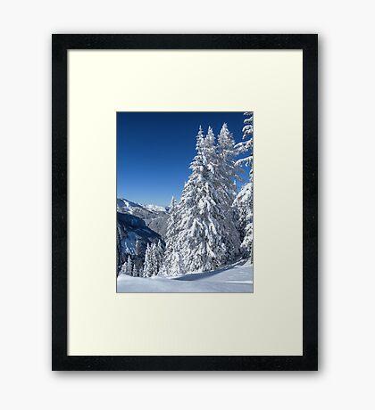 Alpine Mountain Snowscape Framed Print