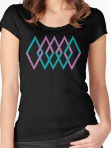 (shapes) Diamonds Lavender & Aqua Women's Fitted Scoop T-Shirt