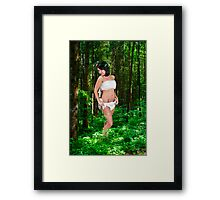 innocent female angel in a forest  Framed Print