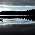 Silhouette of a man fly fishing.  by PhotoStock-Isra