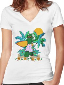 SURFING GUMBY Women's Fitted V-Neck T-Shirt