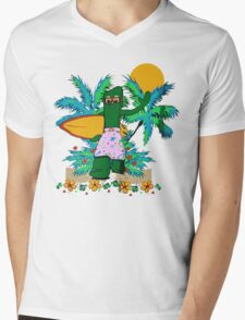 SURFING GUMBY Mens V-Neck T-Shirt