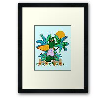 SURFING GUMBY Framed Print
