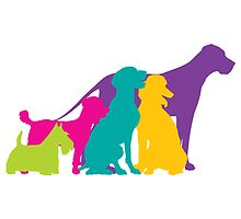 Dog Silhouettes Colour by Maria Bell