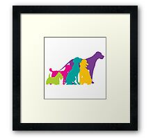 Dog Silhouettes Colour Framed Print