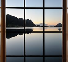 View through the window at the sunrise by DmiSmiPhoto