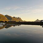 Sunset over the fjord in calm weather by DmiSmiPhoto