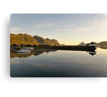 Sunset over the fjord in calm weather Canvas Print
