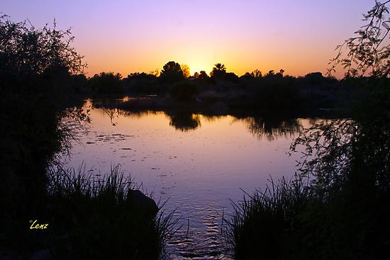 Gilbert Riparian Sunset by George Lenz