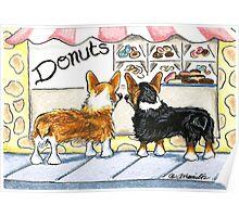Corgis at the Donut Shop Poster
