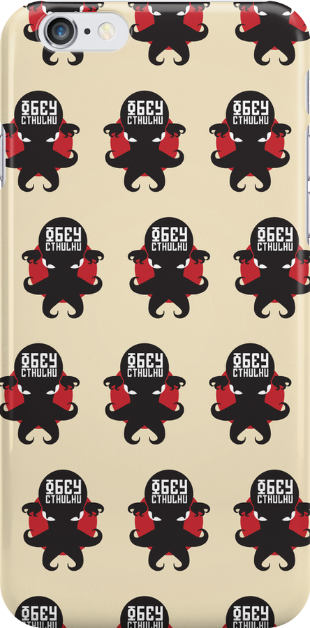 Obey Cthulhu - Cream iPhone, iPad & iPod Cases by RetroReview