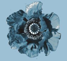BLUE GREY POPPY   TEE/BABY GROW/STICKER by Shoshonan