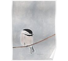 Chickadee Bird Print - Gray and White Neutral Colors - Garden Wildlife Series Poster